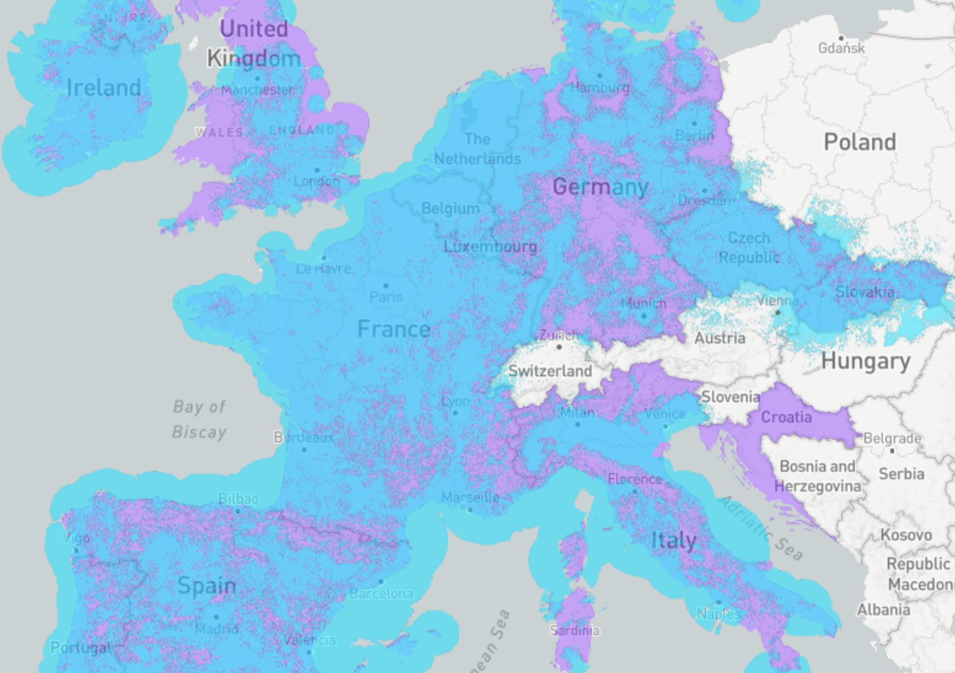 SigFox Europe Coverage Map